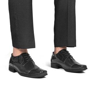 Sapato Social Masculino Verniz Perfuros Cadarço Ajustável