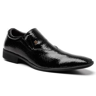 Sapato Social Masculino Verniz Texturizado Conforto Casual