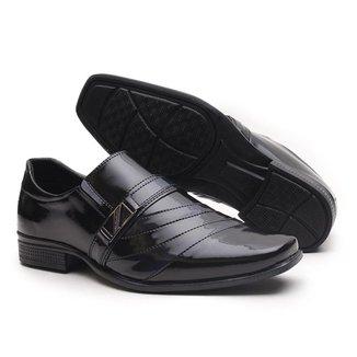 Sapato Social Miletto em Material Tecnológico - Preto e Branco Brilhoso