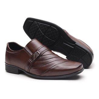 Sapato Social Miletto em Material Tecnológico - Preto e Vinho Brilhoso