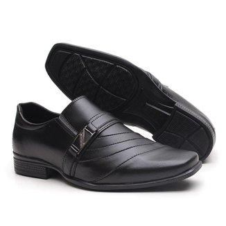 Sapato Social Miletto em Material Tecnológico - Preto Fosco