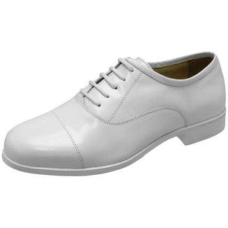 Sapato Social Militar Couro Branco Alto-brilho.