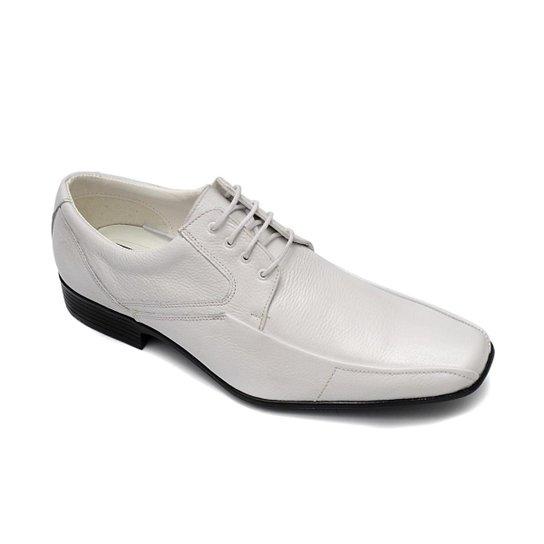 Sapato Social PisaForte Couro Solado Costurado Masculino - Branco