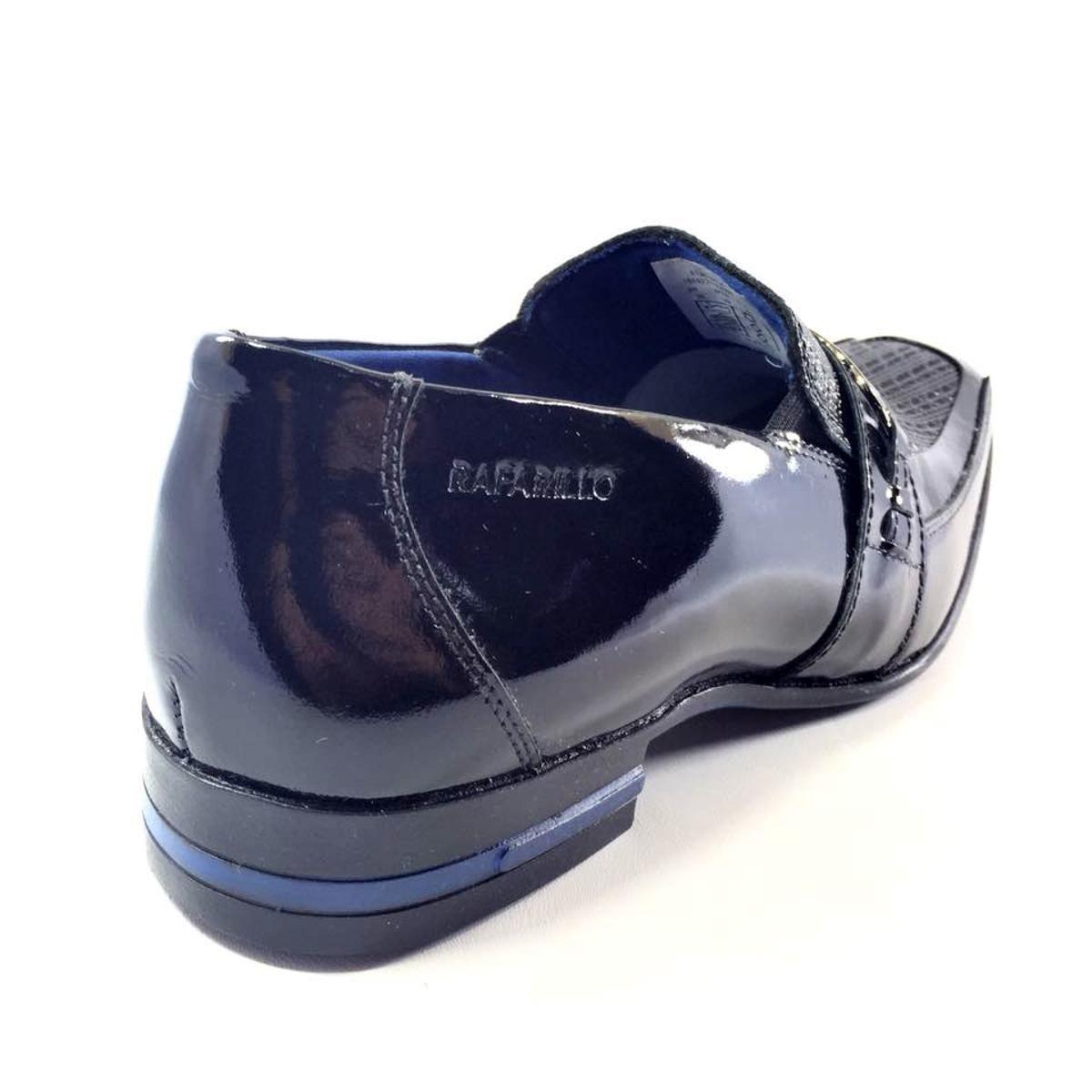 Sapato Social Rafarillo Couro Kit 4 em 1 Masculino - Preto e Azul