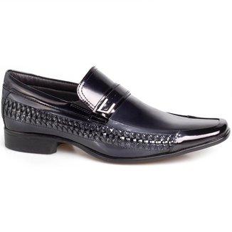 Sapato Social Rafarillo Masculino Couro Bico Quadrado Verniz