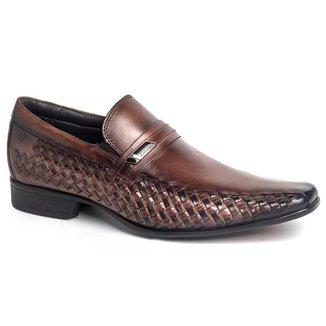 Sapato Social Rafarillo Masculino Couro Liso Bico Quadrado