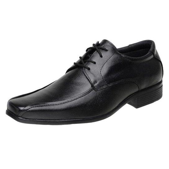 Sapato Social Roma Shoes Social em Couro  Elegante Antiderrapante Masculino - Preto