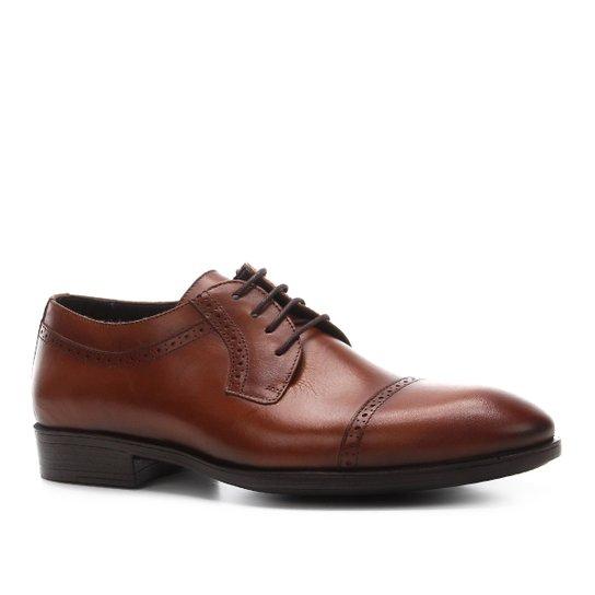 Sapato Social Shoestock Couro Brogues Masculino - Caramelo