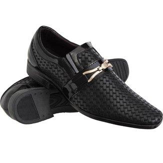 Sapato Social Texturas Conforto Macio Leve Verniz Masculino