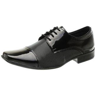 Sapato Social Verniz Cadarço Textura Leve Conforto San Lorenzo Masculino