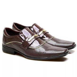 Sapato Social Versales Em Couro Tecnológico Verniz 7002 Masculino