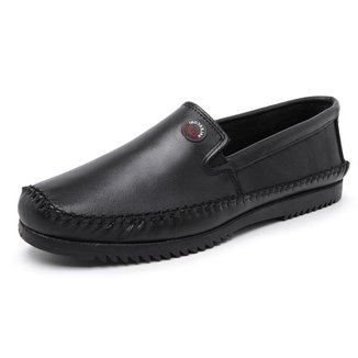 Sapato Valesconi Calçados Sapatilha Conforto  Em Couro Costura Manual Masculino