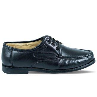 Sapato Vilela Clássico em Couro Pespontado Preto