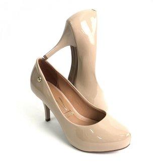 Sapato Vizzano Bico Navio Salto Alto 8.0 Cm Verniz Feminino