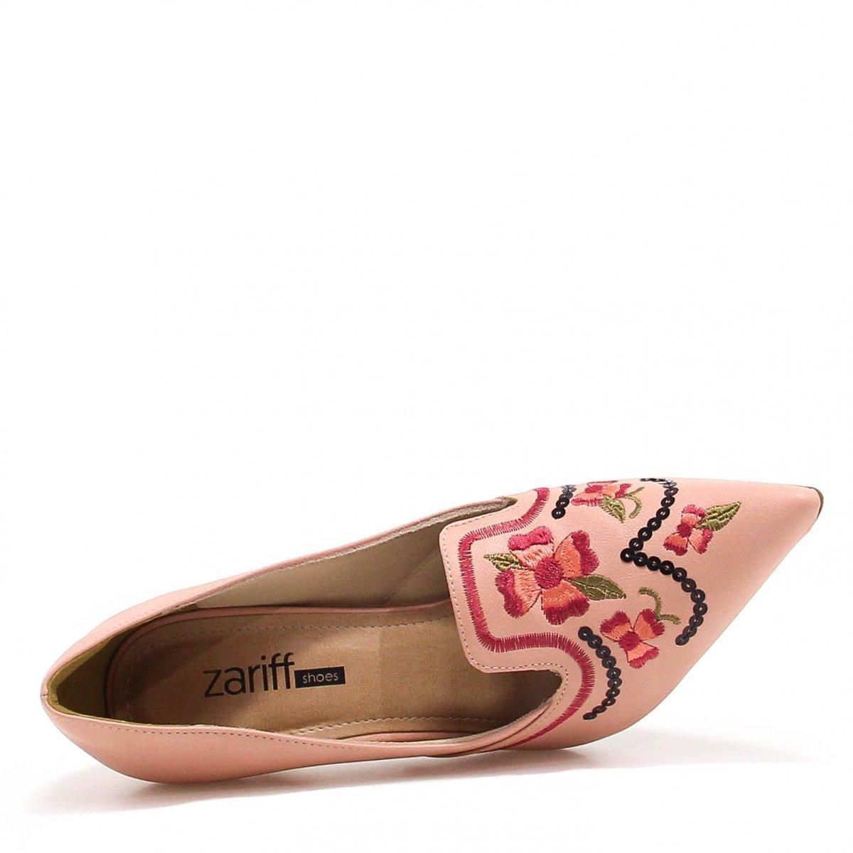 Sapato Zariff Shoes Scarpin Bordado - Nude
