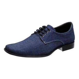 Sapatos Social Masculino Silva&silva 10332 Lona Jeans Azul