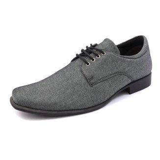 Sapatos Social Masculino Silva&silva 10332 Lona Jeans Cinza