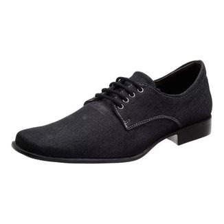 Sapatos Social Masculino Silva&silva 10332 Lona Jeans Preto