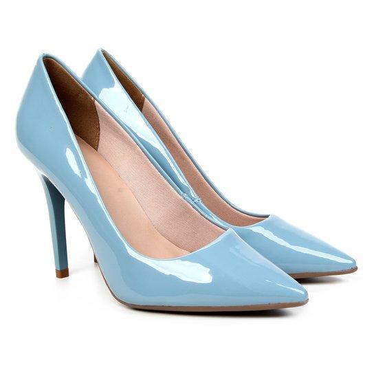 Scarpin Ala Salto Alto Verniz - Azul Claro