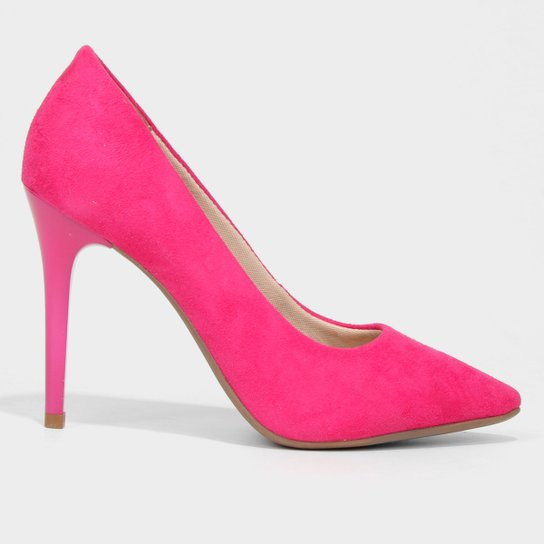 Scarpin Ala Suede Bico Fino Feminino - Rosa Escuro