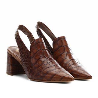 Scarpin Chanel Couro Capodarte Crocodilo Salto Médio