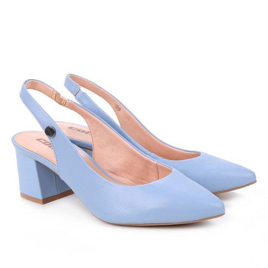 Scarpin Colcci Bico Fino Salto Bloco Chanel - Azul Claro
