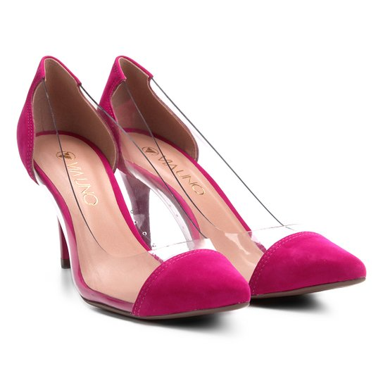 Scarpin com Vinil Via Uno Salto Alto Feminino - Pink