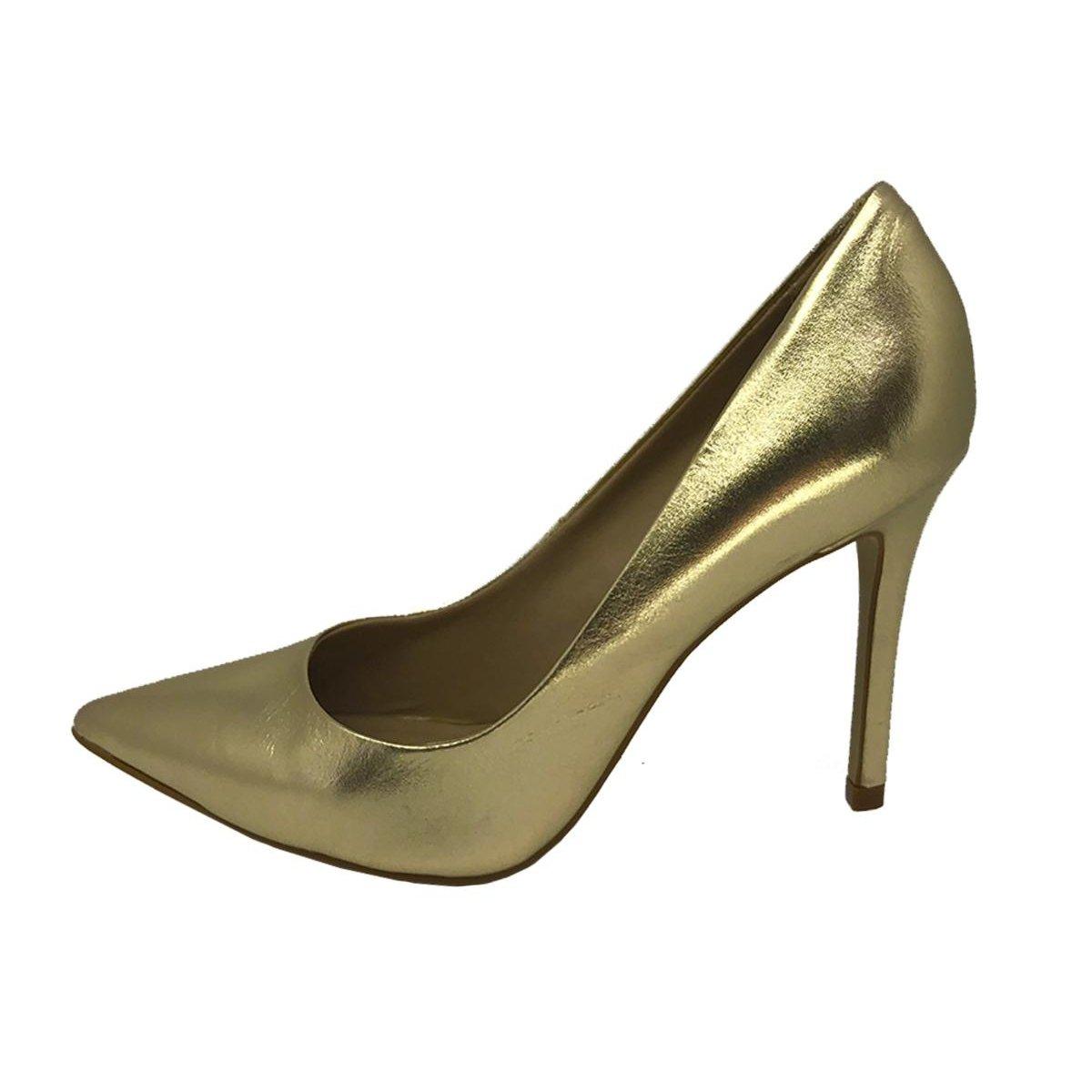 Feminino Fashion Scarpin Conceito Scarpin Conceito Fashion Dourado Fashion Couro Couro Conceito 776qp1WZ