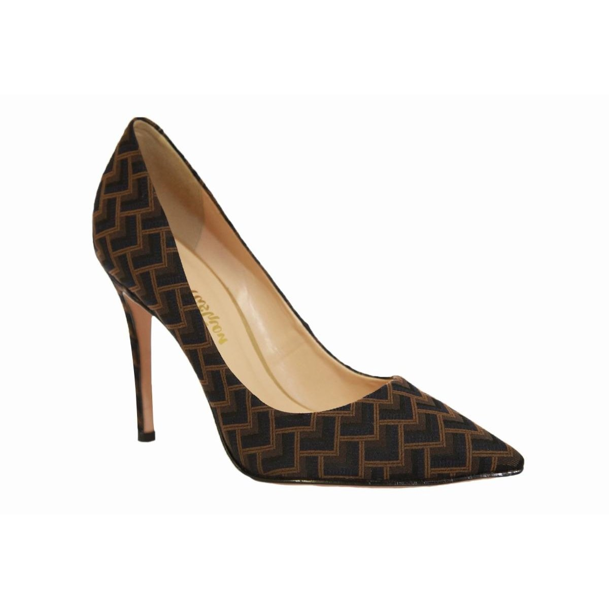 Alto Conceito Scarpin Fashion Geométrico Tecido Salto Conceito Fashion Scarpin Salto Alto Marrom qTTxF8