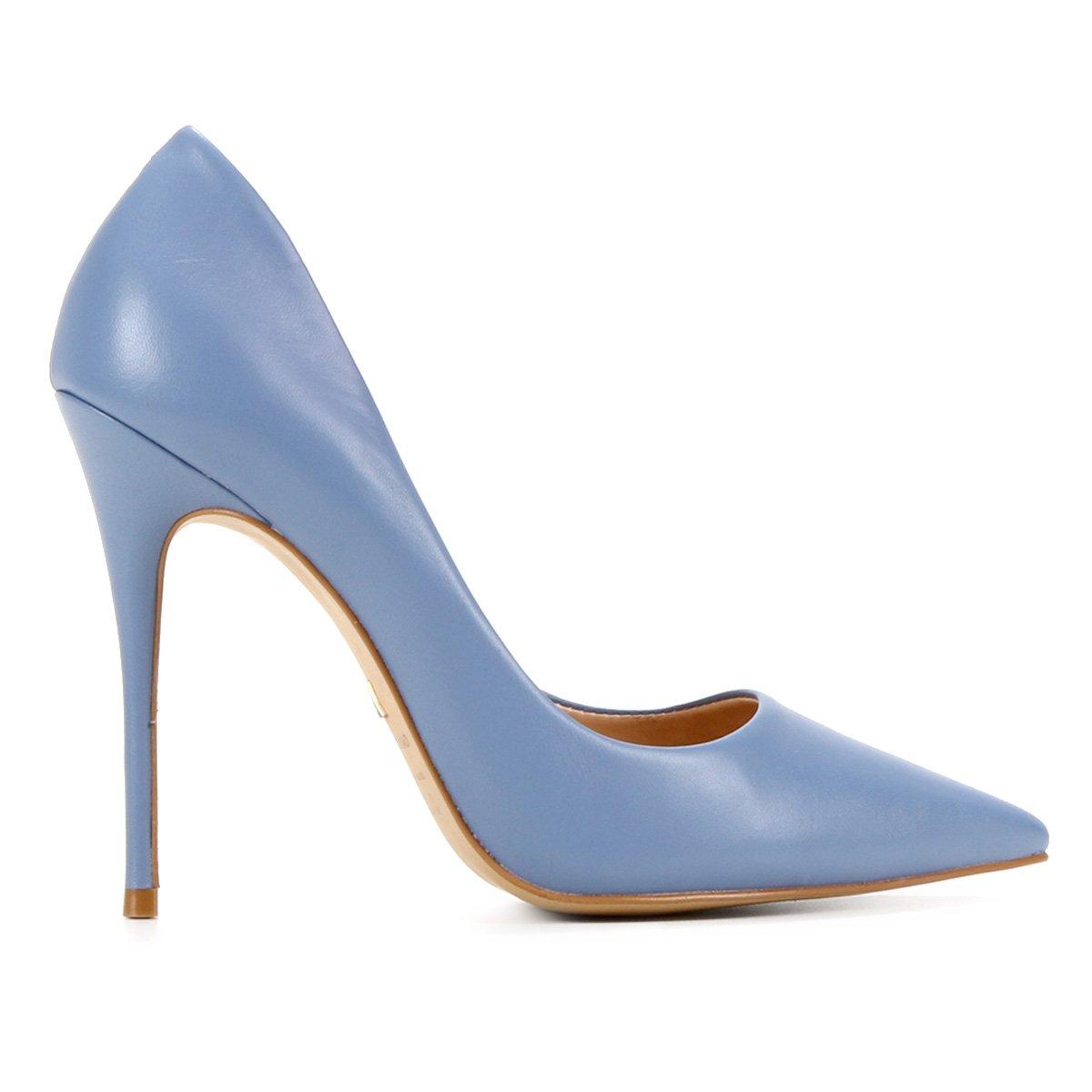 Scarpin Couro Carrano Salto Alto Bico Fino - Azul
