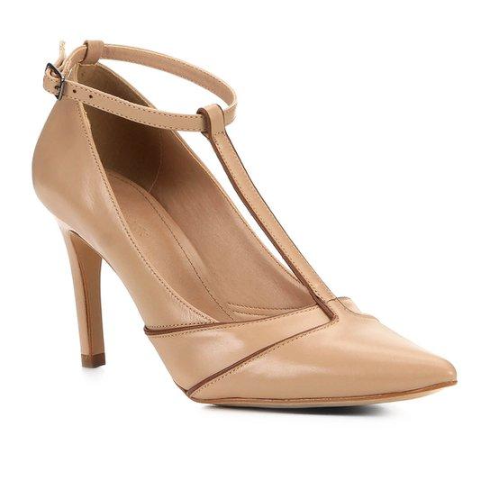 Scarpin Couro Shoestock Athleisure Salto Alto - Bege