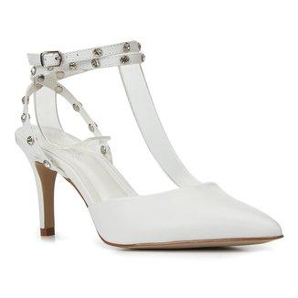 Scarpin Couro Shoestock Bride Rebite Strass Salto Alto