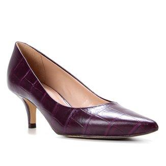 Scarpin Couro Shoestock Cris Salto Médio Croco
