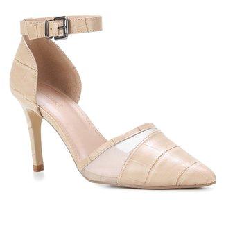 Scarpin Couro Shoestock Croco Tela Salto Alto