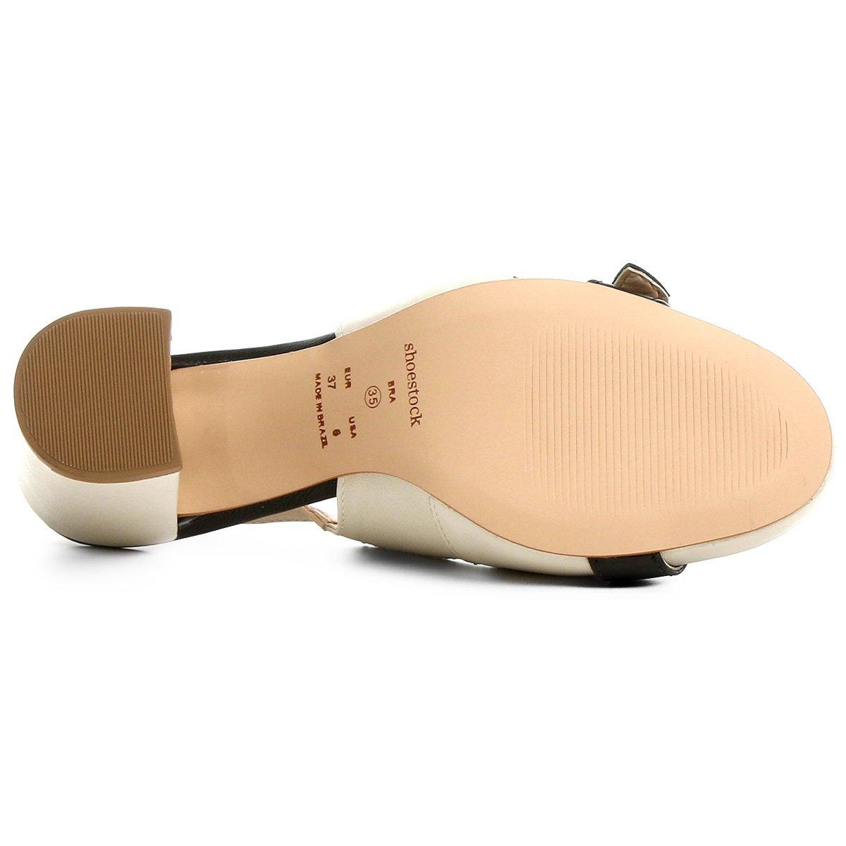 e Couro Off Scarpin White Preto Fivela Grosso Shoestock Salto 4aHq0