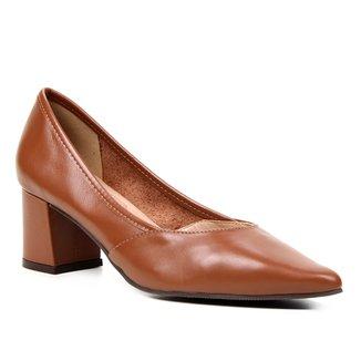 Scarpin Couro Shoestock For You Salto Bloco Médio
