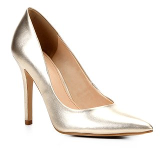 Scarpin Couro Shoestock Metalizado Salto Alto
