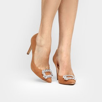 Scarpin Couro Shoestock Pedraria