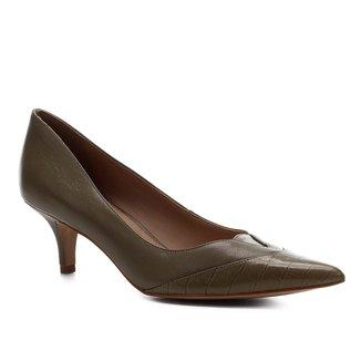 Scarpin Couro Shoestock Recortes Salto Baixo