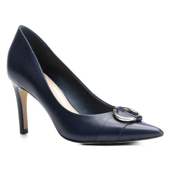 Scarpin Couro Shoestock Salto Alto Argola - Marinho