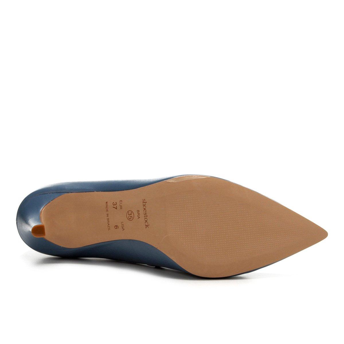 Couro Azul Scarpin Shoestock Básico Scarpin Salto Couro Alto 0wEz6
