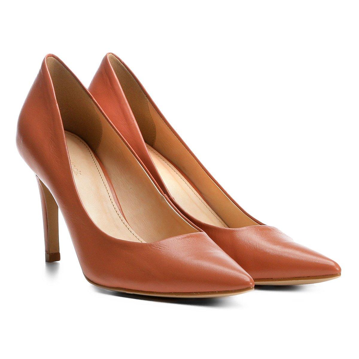 Marrom Scarpin Alto Scarpin Couro Básico Shoestock Salto Couro n0w01xfRrq