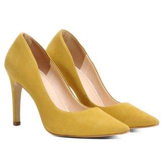 Scarpin Couro Shoestock Salto Alto Bico Fino Nobuck