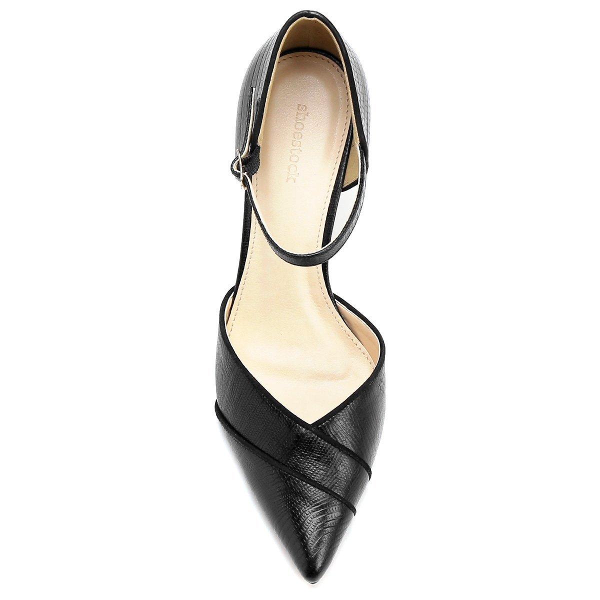 Couro Salto Lizard Alto Aberto Preto Shoestock Bico Scarpin Semi Fino qvxdBEBScg