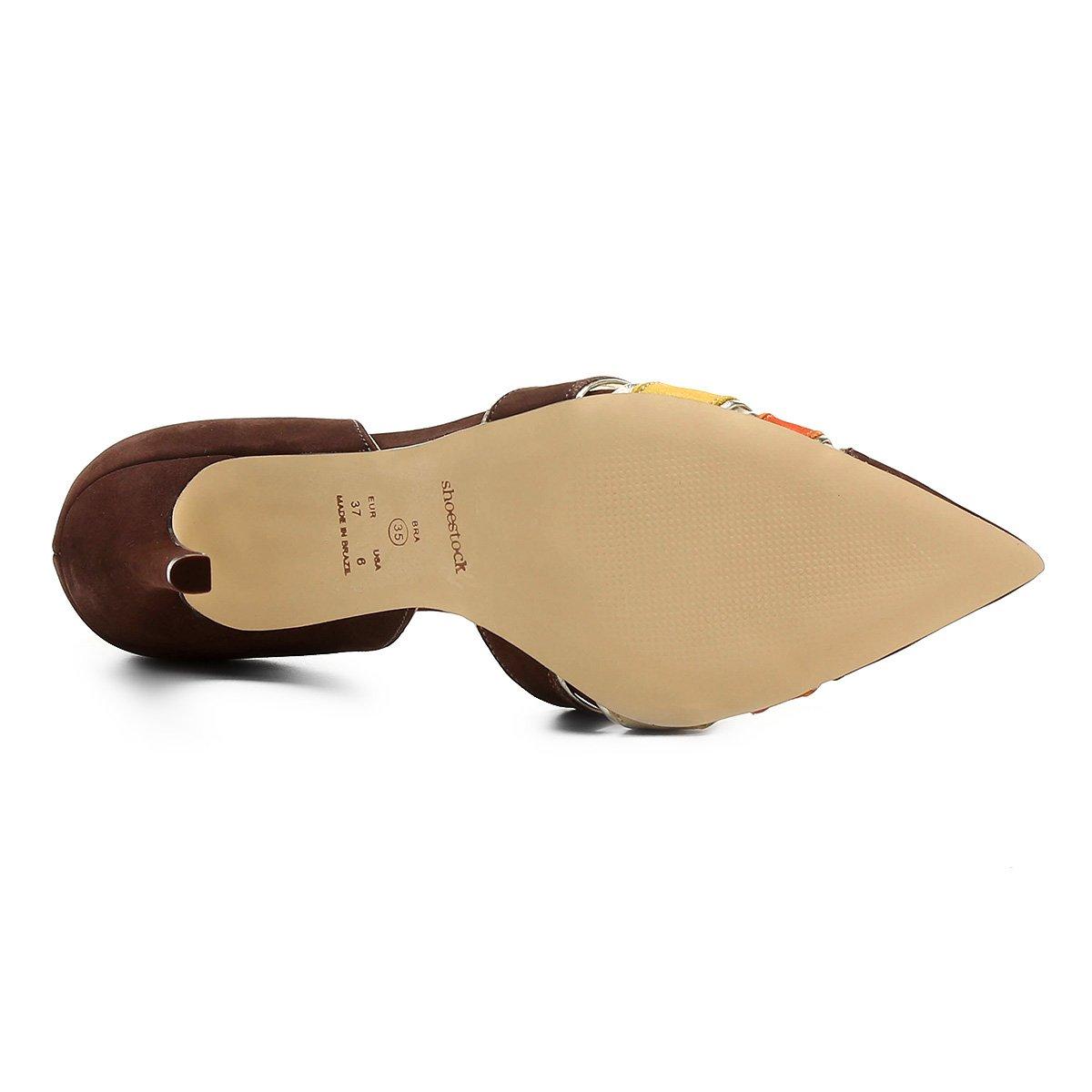 Scarpin Couro Semi Shoestock Multicor Fino Alto Bico Marrom Salto 77rqzw