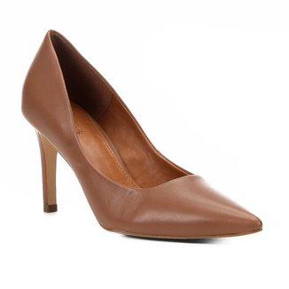 Scarpin Couro Shoestock Salto Alto Bico Fino