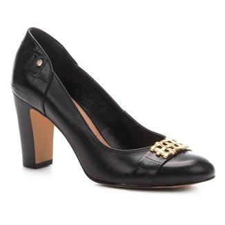 Scarpin Couro Shoestock Salto Alto Bloco