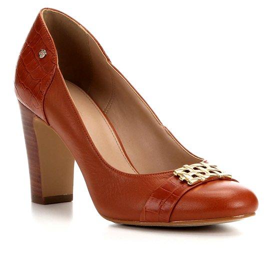 Scarpin Couro Shoestock Salto Alto Bloco - Caramelo