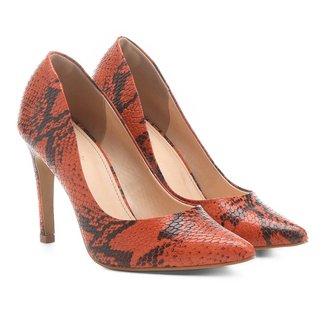 Scarpin Couro Shoestock Salto Alto Cobra
