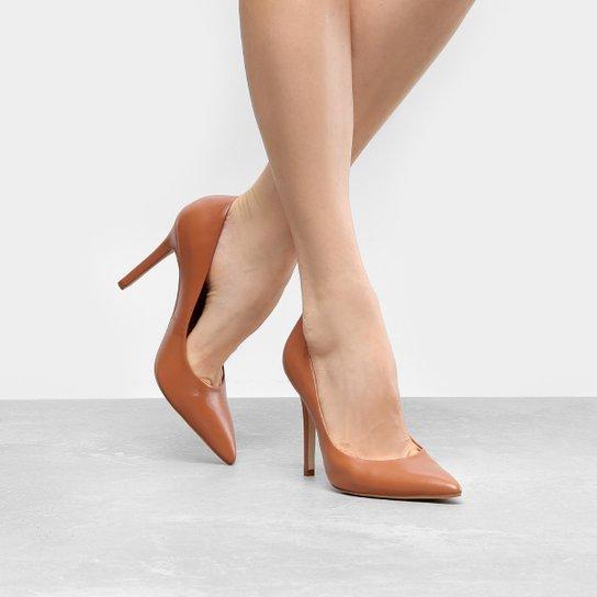 Scarpin Couro Shoestock Salto Alto Color - Caramelo